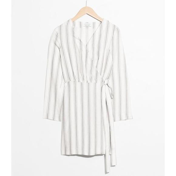 80d288feed & Other Stories Dresses   Striped Linen Blend Wrap Dress   Poshmark